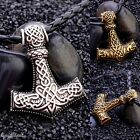 Viking Thor's Hammer Mjolnir Necklace Pendant Silver Gold Leather Chain Norse