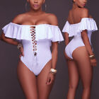 Sexy Women Bikini One Piece Monokini Padded Solid Off Shoulder Bandge Swsimsuit