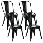 Set of 4 Tolix Style Dining Side Chairs Stackable Bistro Cafe Metal Stools