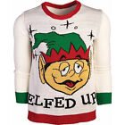 Ugly Christmas Sweater Elfed Up Drunk Elf Naughty Adult Holiday Fun Tacky MD-XL