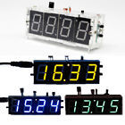 New DIY 4 Digit LED Electronic Clock Kit Large Screen With Case 4 Color