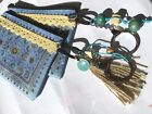 Ethnic Evil Eye coin purse and Key ring light Blue
