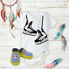 Hockey Skates Outfit Onsies & Yellow Owl  Shoes Best Baby Sh