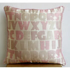 """Luxury Pink Alphabets Pillows Cover, 20""""x20"""" Jacquard Pillow Covers - Abc"""
