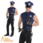 Adult Police Cop Under Arrest Stripper Costume Mens Sexy Fancy Dress Outfit