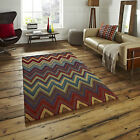 New 100% Wool Hand Tufted Multi Coloured Zig-Zag Modern Best Quality Think Rugs