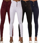 SALE! WOMEN'S SKINNY FIT HIGH WAIST JEANS 3-Button Casual Trousers SIZE 6-8