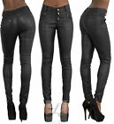 WOMEN BLACK LEATHER LOOK LEGGINGS Stretchy High Waist Trousers SIZE 6-8