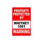 Protected by WHITNEY 1861 Gun Pistol Rifle Revolver Warning Ammo Aluminum Sign for sale  Dallas