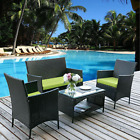 4 Pcs Patio Rattan Wicker Chair Sofa Table Sets Patio Garden Furniture W/cushion