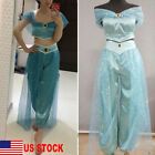 US Aladdin Jasmine Princess Cosplay Women Girl Fancy Dress Up Party Costume Sets