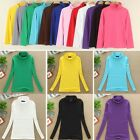 12 Colors Women Winter Long Sleeve Turtleneck Cotton T-Shirt