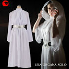Star Wars Cosplay Princess Leia Costume Halloween Fancy White Long Dress NN.934