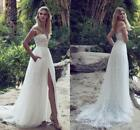 White/Ivory Wedding Dress Beach Bridal Gowns Lace Tulle A-line Side Slit Custom