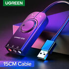 Ugreen USB Audio Adapter External Stereo Sound Card 3.5mm Headphone Mic for PS4