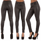 WOMEN LEATHER LOOK LEGGINGS TROUSERS BLACK WET LOOK JEANS SIZE 6 8 10 12 14 16