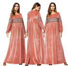 Muslim Women Embroidery Velvet Long Dress Maxi Robe Islamic Abaya Vintage Lot