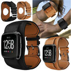 Genuine Leather Cuff Wrist Strap Watch Band Bracelet For Fitbit Versa Watchband image
