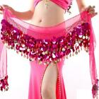 Gold Coins Big Sequins Belly Dance Hip Wrap Scarf Belt Costume Skirt Dancewear