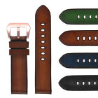 StrapsCo Vintage Faded Leather Watch Band w Rose Gold Buckle
