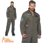 Adult Deluxe Top Gun Costume Flight Suit Mens Aviator Pilot Fancy Dress Outfit