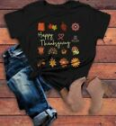 Women's Cute Thanksgiving T Shirt Happy Turkey Day Shirts Leaves Flowers Graphic