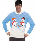 Snow Couple Naughty Snowmen Knitted Ugly Sweater Adult Tacky Christmas Gag Gift