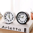 Round Small Bed Compact Travel Quartz Beep Alarm Clock White&Black PortableClock