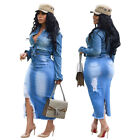 Women Ripped Jeans Hollow Out Casual Bodycon Club Party Tassel Slit Denim Skirt