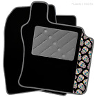 Smart Fortwo (2004 - 2007) Black Car Mats & Sugar Skull Logo (V1)