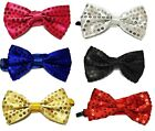 Men Kid Bow Tie Glitter Sparkly Sequin Dickie Dicky Dance Party Fancy Dress