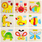 Animals Wooden Puzzle Jigsaw Baby Kid Pre-school Educational Early Learning Toy