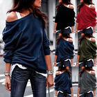 Women's Off The Shoulder Jumper Loose Slouch Tops Oversized Blouse Baggy Sweater