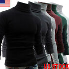 US STOCK MENS ROLL NECK LONG SLEEVE COTTON TOP POLO & TURTLE NECK BASIC T SHIRTS image