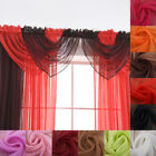 Unbroken Color Sheer Window Curtain Head Swag Valance Home Living Room Decor US