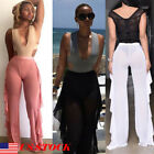 US Women's High Waist See Through Fishnet Mesh Leg Sexy Beach Pant Trouser S-2XL