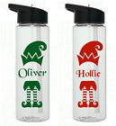 2 X Personalised Elf Christmas Name Stickers For Kids Water Drinks Bottle School