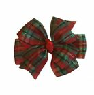 Christmas Plaid Pinwheel Hair Bow
