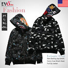 A Bathing Ape Camouflage Coat Shark Head Full Zip Jacket Hoodie Sweatshirt