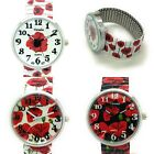 Ladies Novelty Roses Floral Flower Stretch Elastic Band Watch Versales VS1 image
