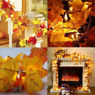 10M 100LED Lighted Fall Autumn Pumpkin Maple Leaves Garland Thanksgiving Decor
