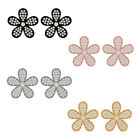 Solid 18k Gold Natural Diamond Pave Flower Stud Earrings Handmade Fine Jewelry