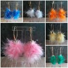 Fluffy Tinsel Feather Hoop Earrings Jewellery Party Favours