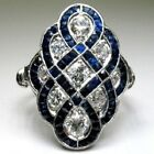 Art Deco Women Wedding Engagement Ring White Sapphire Blue Enamel Silver Jewelry