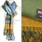 Womens Winter Warm 100% Cashmere Plaid Scarf High Quality Scotland Made Scarves