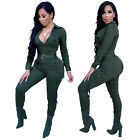 Women Long Sleeves Zipper Casual Fashion Club Party Bodycon Tracksuit Jumpsuit