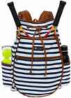 LISH Women's Down the Line Canvas Stripe Tennis Racquet Holder Backpack