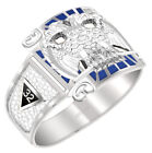 Customizable Men's 0.925 Sterling Silver or Vermeil Scottish Rite Mason Ring