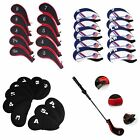 10Pcs Neoprene Golf Club Head Cover Wedge Iron Putter Protective Headcover Black
