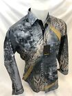 Mens PREMIERE Long Sleeve Button Down Dress Shirt GRAY GOLD ABSTRACT SKULL 146